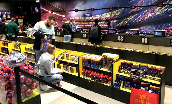 Checkout queue at Barcelona FC shop