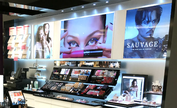 cosmetics in display at a Debenhams store